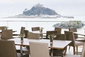 Upper Deck dining area with view of St Michael's Mount